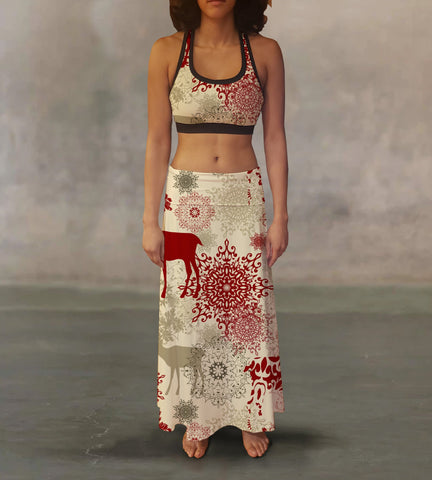Retro Reindeer Maxi Skirt - MikeAndNikes™- We Just Did It - Cream of The Crop®