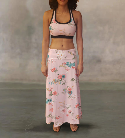 Soft Pink Flowers Maxi Skirt - MikeAndNikes™- We Just Did It - Cream of The Crop®