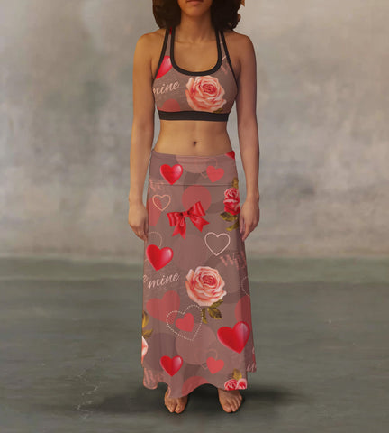 Valentines With Love Splash Maxi Skirt - MikeAndNikes™- We Just Did It - Cream of The Crop®
