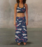 Winter Holly & Berries Maxi Skirt - MikeAndNikes™- We Just Did It - Cream of The Crop®