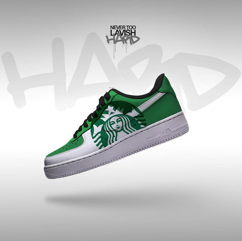 Starbucks coffee   - air force one custom - MikeAndNikes™- We Just Did It - Cream of The Crop®