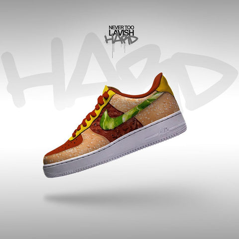 hamburger shoe  - air force one custom - MikeAndNikes™- We Just Did It - Cream of The Crop®