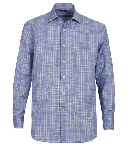 Blue Mini Check Cotton Linen Shirt