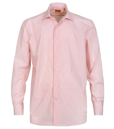 Coral Striped Cotton Linen Shirt
