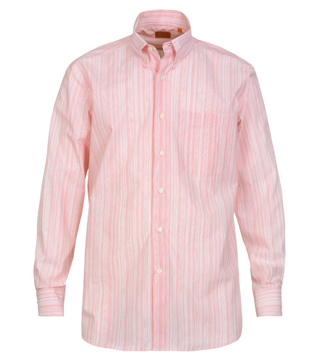 Coral Soft Stripe Cotton Linen Shirt