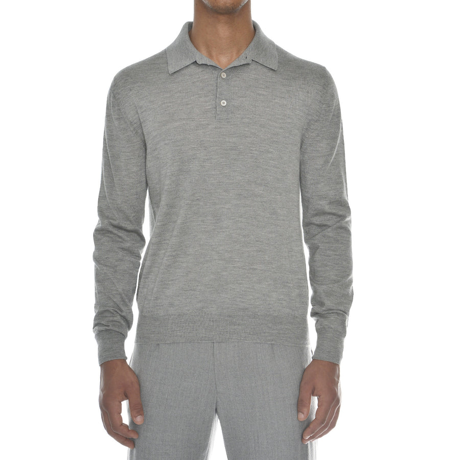 Cashmere-Silk Blend Long Sleeve Polo