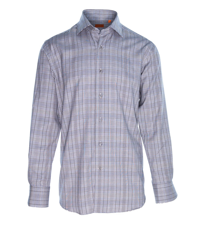 Blue Grey Mini Check Brushed Cotton Shirt