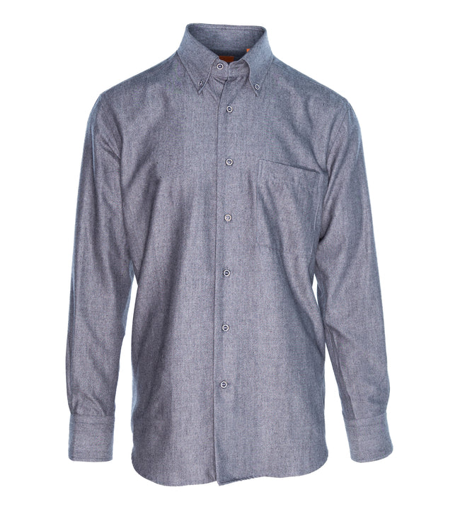 Dark Grey Twill Two Ply Brushed Cotton Shirt