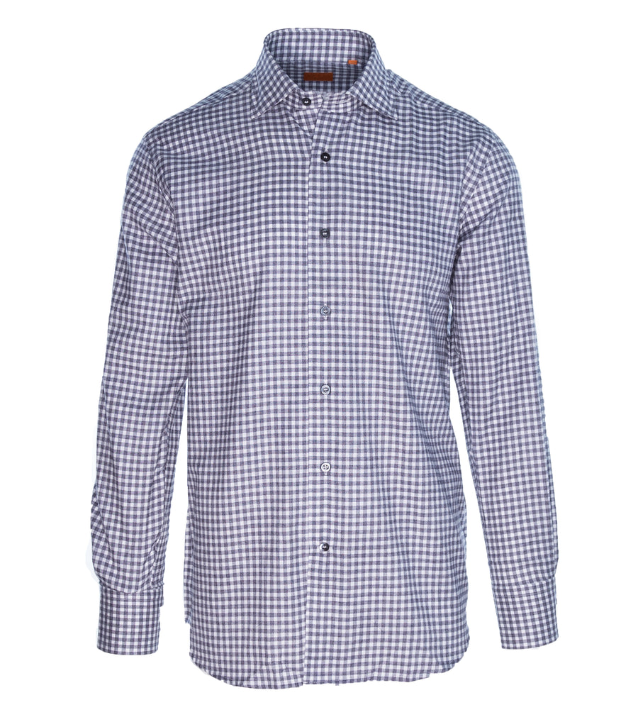 Brushed Cotton Grey Mini Check Shirt