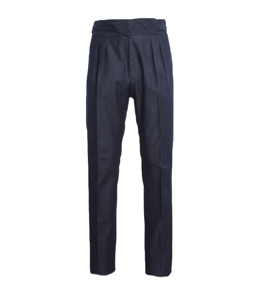 High Waist Stretch Denim Trouser
