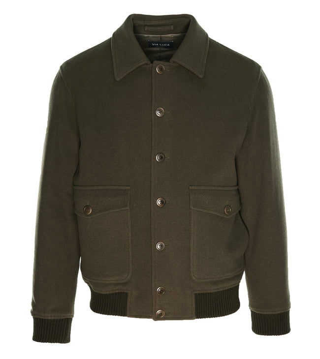 Olive-Green Wool Bomber