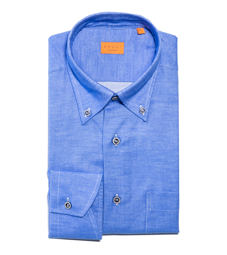 Solid Two Ply Brushed Cotton Shirt