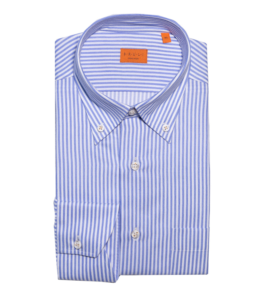 Striped Brushed Cotton Button-down Shirt