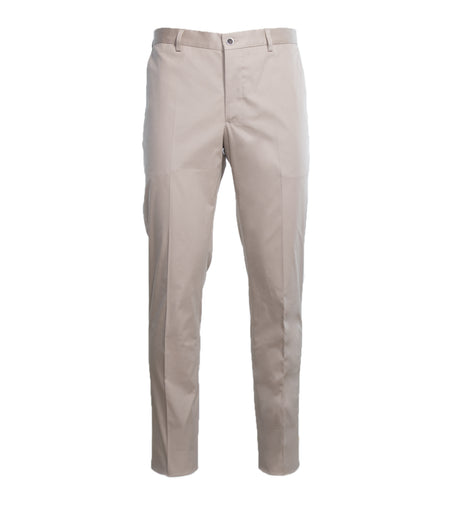 Tan Flat Front Cotton Stretch Trouser