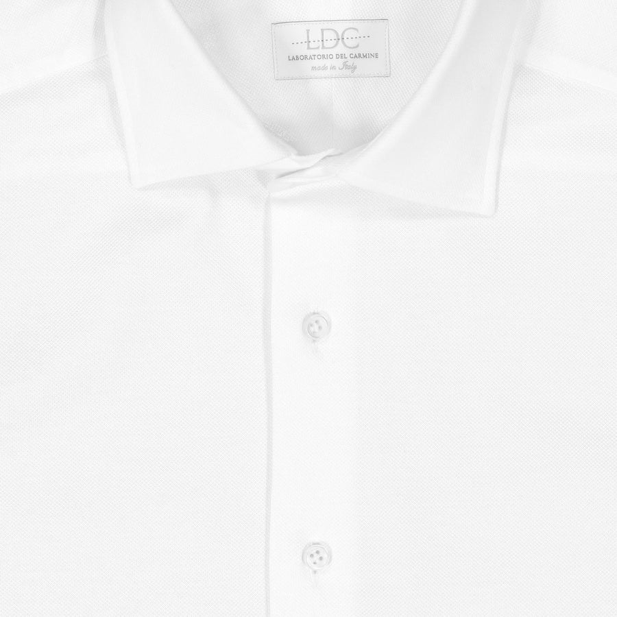 White Cotton Pique Stretch Shirt