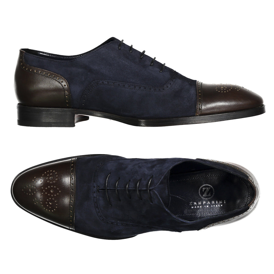 Leather and Suede Wingtip Dress Shoe - Zamparini for Via Luca