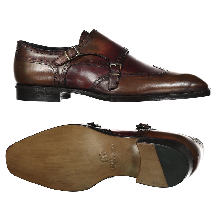 Handpainted Double Monk Dress Shoe - Zamparini for Via Luca