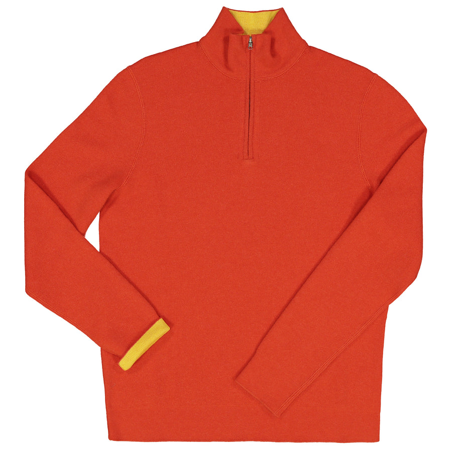 Reversible Cashmere-Cotton 1/4 Zip Sweater