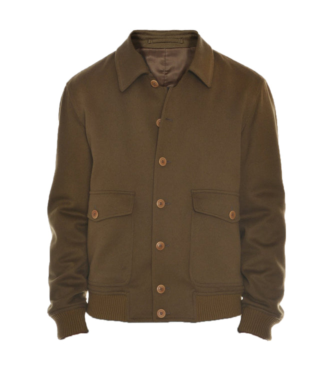 Cashmere Buttoned Bomber