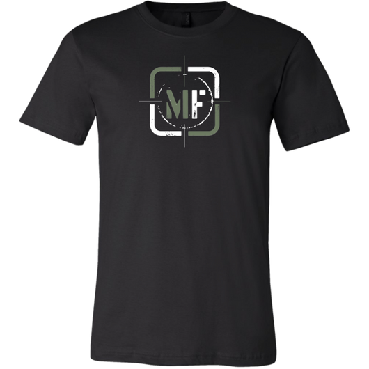 Military Fit Focus T-shirt- Simple MF lettering with a split color design of white and green. It is the focal point on the shirt.