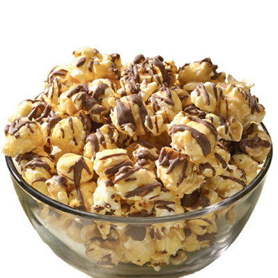 Caramel Corn with Chocolate Drizzle
