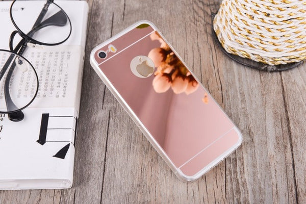 Gurioo Rose Gold Luxury Bling Mirror Case For iPhone 6 6S Plus 5.5 / 5 5S SE /4 4S 7 Clear TPU Ultra Slim Flexible Soft Cover case