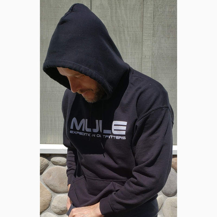 MULE HOODIE BLACK WITH WHITE LOGOS