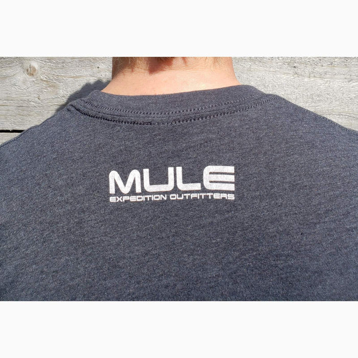 "MULE LOGO TEE SHIRT HEATHER BLACK WITH WHITE ""NO FEEL"" GRAPHIC"