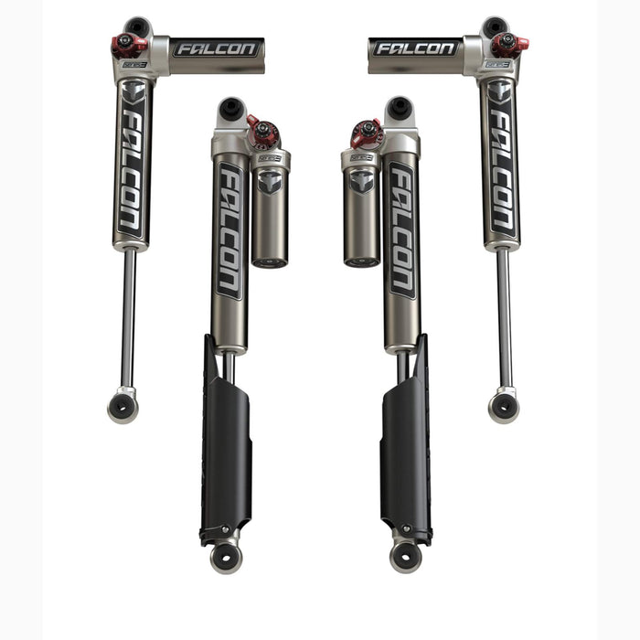 "JLU 4-Door: 2-4.5"" Lift Falcon Series 3.3 Fast Adjust Piggyback Shock Absorbers - All 4"