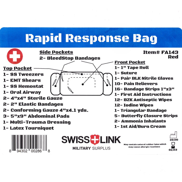 Swiss Link First Aid Rapid Response Kit - Red FA143RED sold by Mule Expedition Outfitters www.dasmule.com