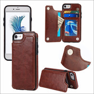 Leather Flip Stand Card Slot Holster Buckle Cover Case for iPhone