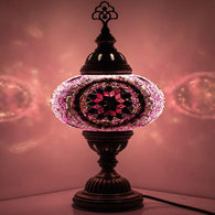 Handmade Turkish Glass Mosaic Table Desk Bedside Lamp with Bronze Base