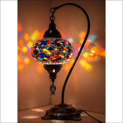 Handmade Turkish Glass Mosaic Swan Neck Table Lamp with Bronze Base