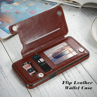 Leather Flip Stand Card Slot Holster Buckle Cover Case for Galaxy