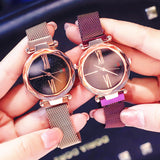 Galaxy Stars Bling-Bling Magnetic Watchband Engraved Women Watches