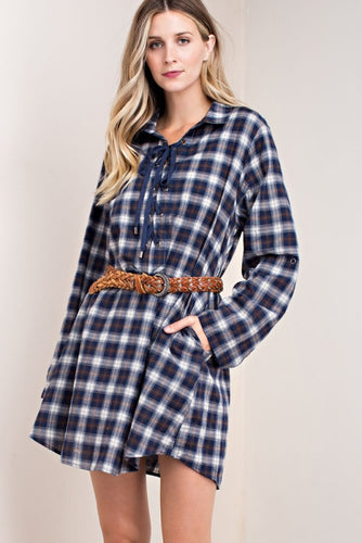 Lace Up Plaid Dress