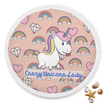 Super Soft Crazy Unicorn Lady Round Beach Blanket