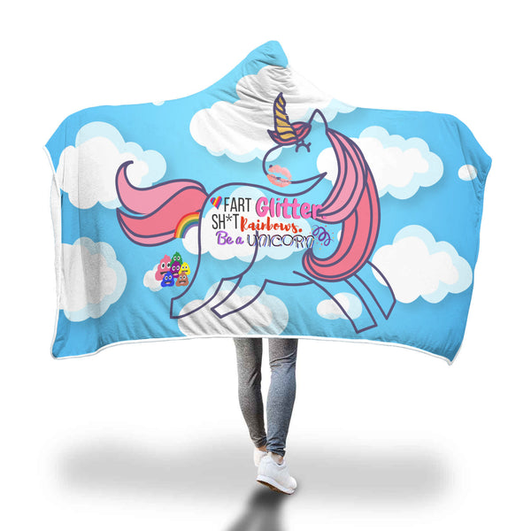 Rainbow Poop Emoji & Unicorn Design Hooded Blanket