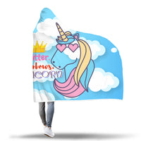 Pretty Unicorn Design Soft Hooded Blanket