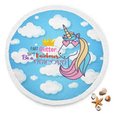 Charming Unicorn in the Clouds Comfy Round Blanket
