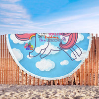 Unicorn with Rainbow Emoji Poop Design Beach Blanket