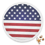 American Flag 4th of July Beach Blanket Round with Tassel