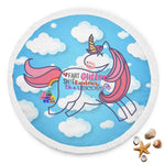 Unicorn Rainbow Emoji Poop Soft Round Mat Beach Blanket Bedding