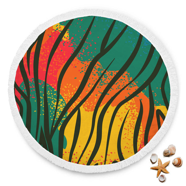 African Pattern Super Soft Round Mat Beach Blanket