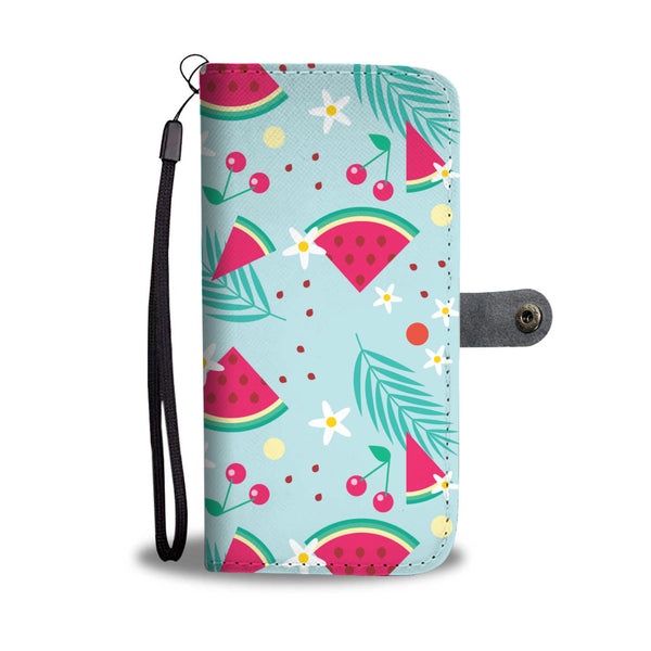 Watermelon and Cherries Wallet Phone Protection Case