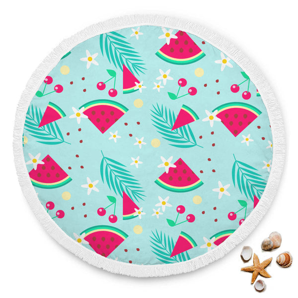 Cherries and Watermelon Round Beach Blanket