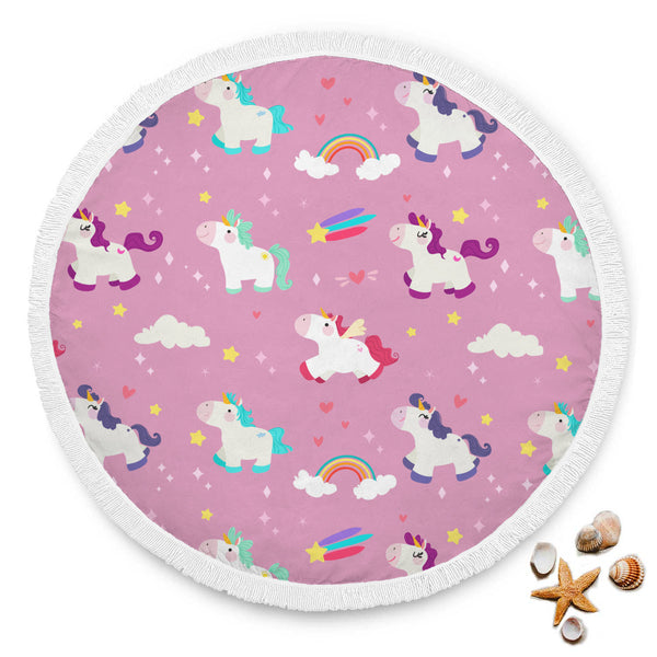 Pink Unicorn Rainbow Stars Hearts Round Beach Blanket