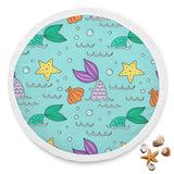 Mermaid Shell Starfish Round Beach Blanket