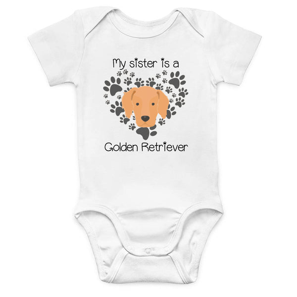 My Sister is a Golden Retriever One Piece Baby Bodysuit