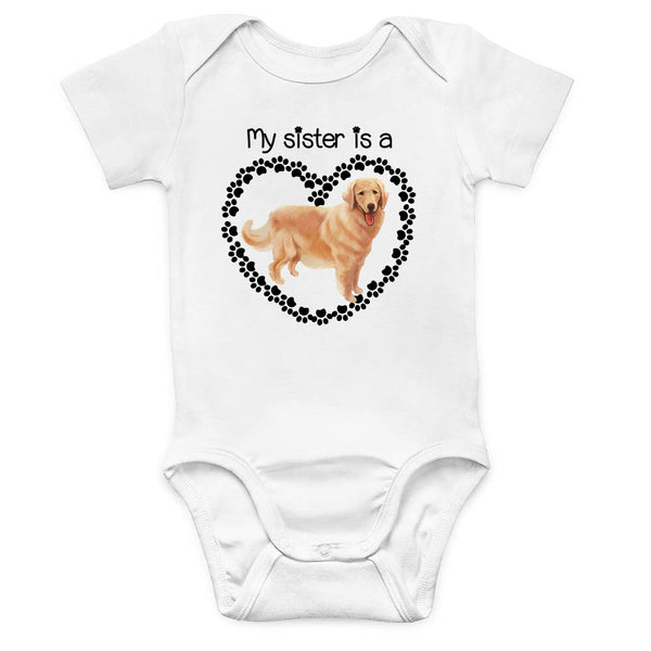 Golden Retriever Sister Baby Bodysuit
